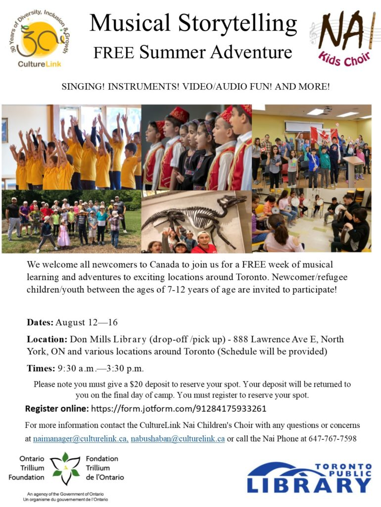 CultureLink Nai Choir Summer Camp Flyer