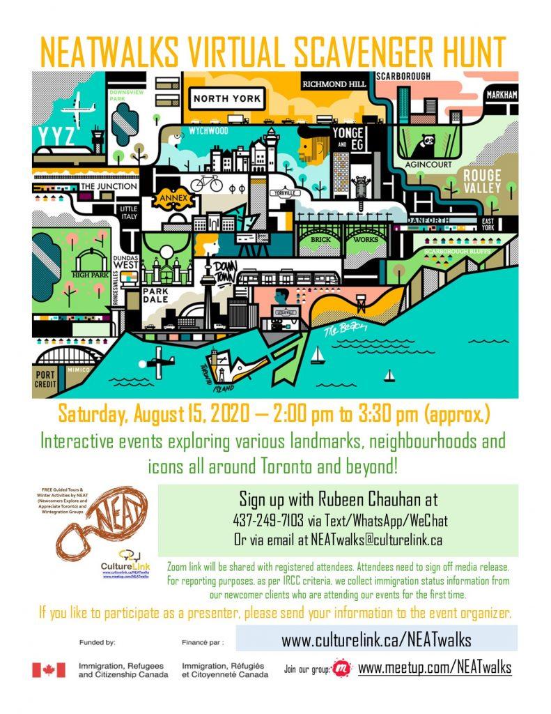 CultureLink Event Flyer NEATwalks Scavenger Hunt Aug 15